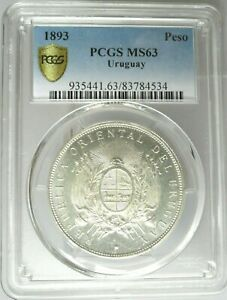 Click now to see the BUY IT NOW Price! 1893 URUGUAY 1 PESO  PCGS MS 63