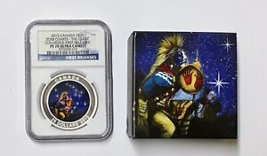 Click now to see the BUY IT NOW Price! 2015 $25 CANADA SILVER STAR CHARTS  THE QUEST COLORIZED NGC PF 70 WITH BOX & COA