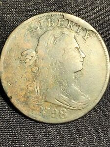 1798 DRAPED BUST LARGE CENT S 148 STYLE 1 'HORNED 9' HUGE CUD AT LIBERTY