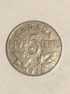 1931   CANADA NICKEL 5C   CANADIAN 5 CENT COIN KING GEORGE V
