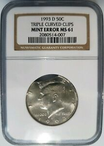 Click now to see the BUY IT NOW Price! 1993 D KENNEDY HALF DOLLAR NGC MS 61 TRIPLE CURVED CLIPS MINT ERROR CLIPPED
