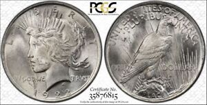 1922 SILVER PEACE DOLLAR PCGS MS 63 OBVERSE LAMINATION MINT ERROR LAMINATED COIN