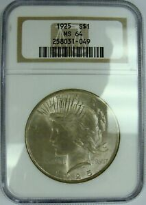 1925 PEACE DOLLAR GRADED MS64 BY NGC
