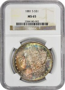 1881 S NGC MS 65   WONDERFUL EOR COLORFUL TONE PATTERN