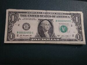00000'S $ ONE DOLLAR  FRN B 00022050 SUPER REPEATER 5  00000 'S SERIAL  TRINARY