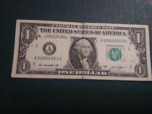 00000'S $ ONE DOLLAR  FRN  A 00800203 SUPER REPEATER 5  00000 'S SERIAL