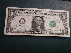 00000'S $ ONE DOLLAR  FRN  F 00752000 SUPER REPEATER 5  00000 'S SERIAL  2 LEAD