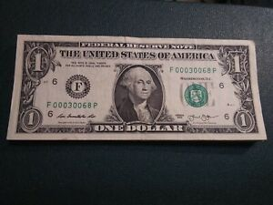 00000'S $ ONE DOLLAR  FRN  F 00030068 SUPER REPEATER 5  00000 'S SERIAL  3 LEAD