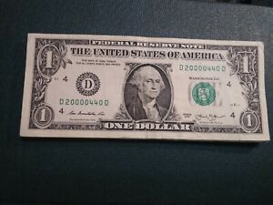 00000'S $ ONE DOLLAR  FRN  D 20000440 SUPER REPEATER 5  00000 'S SERIAL  TRINARY