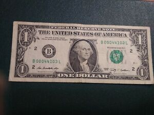 00000'S $ ONE DOLLAR  FRN B 00044103 SUPER REPEATER 5  00 'S SERIAL NR