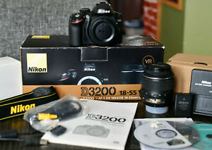 NIKON D D3200 24.2MP DIGITAL SLR CAMERA KIT   BLACK WITH BOX AND LENS AND MORE
