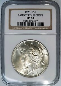 1923 SILVER PEACE DOLLAR NGC MS 64 PATRIOT COLLECTION HOARD LIBERTY INDEPENDENCE