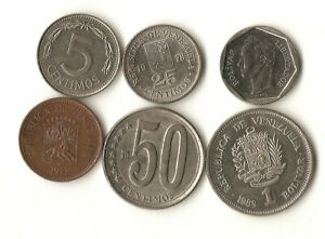 SIX VENEZUELA COINS 5 25 AND 50 CENTS 1 AND 10 BOLIVARS 1978   2007