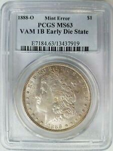 1888 O SILVER MORGAN DOLLAR PCGS MS 63 VAM 1B EDS EARLY DIE STATE HARRISON TONED