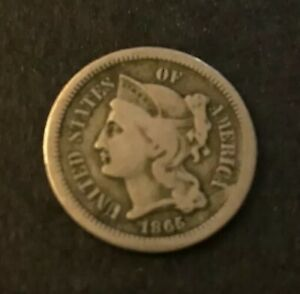 1865 CIVIL WAR ERA THREE CENT NICKEL   UNITED STATES COIN