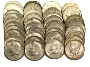 LOT OF  40  KENNEDY SILVER HALF DOLLAR COINS 90 . ALL DATED 1964. 2 FULL ROLLS