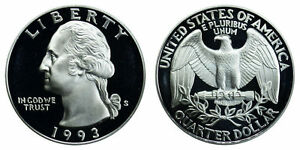 1993 S GEM BU PROOF WASHINGTON QUARTER PF UNCIRCULATED 25 CENT COIN BRILLIANT PF