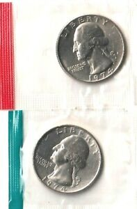 1974 D QUARTER UNCIRCULATED IN CELLO.