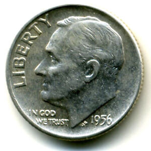 1956 D ROOSEVELT DIME SILVER 10 CENT SHARP ABOVE AVERAGE DETAIL NICE COIN1151