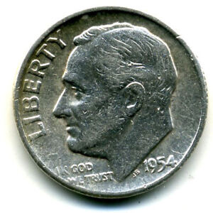 1954 P ROOSEVELT DIME SILVER 10 CENT SHARP ABOVE AVERAGE DETAIL NICE COIN4164