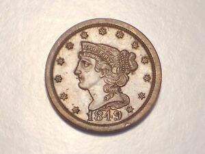 1849 HALF CENT  AU/UNC & ATTRACTIVE