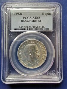 Click now to see the BUY IT NOW Price! 1919 R ITALIAN SOMALILAND RUPIA SILVER COINVITTORIO EMANUELE III PCGS AU 55