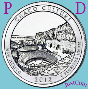 2012 P&D CHACO CULTURE NATIONAL HISTORIC PARK TWO UNCIRCULATED QUARTERS SET