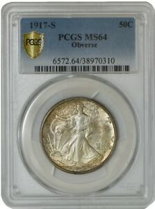 Click now to see the BUY IT NOW Price! 1917 S WALKING LIBERTY HALF 50C OBVERSE MS64 SECURE PLUS PCGS 942667 7