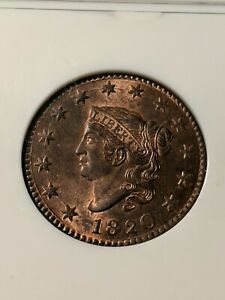 Click now to see the BUY IT NOW Price! 1820 LARGE DATE COPPER CORONET HEAD LARGE CENT NGC MS 66 RED/BROWN  STUNNING