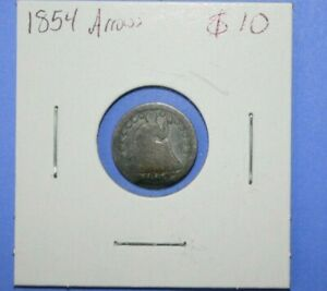 1854 SEATED LIBERTY HALF DIME COIN WITH ARROWS     [1119GCM]