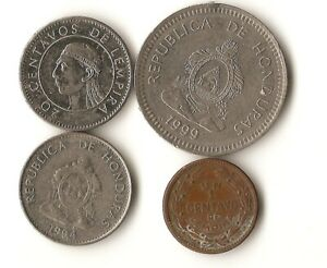 FOUR COINS FROM HONDURAS 1 20 AND 50 CENTAVOS 1957  2012