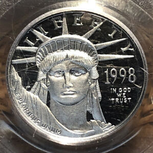 1998 W STATUE OF LIBERTY PLATINUM EAGLE 1/10 OZ PCGS PR 69 DCAM