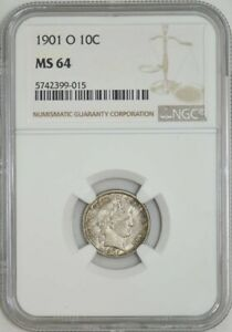 Click now to see the BUY IT NOW Price! 1901 O BARBER DIME 10C MS64 NGC 942574 6