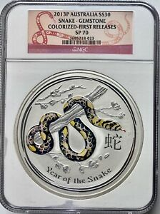 Click now to see the BUY IT NOW Price! 2013 AUSTRALIA KILO SILVER GEMSTONE EDITION YEAR OF THE SNAKE NGC SP70 FS