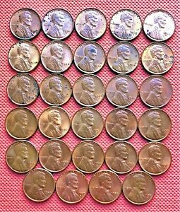 29 DIFFERENT WHEAT CENTS FROM YEARS 1930 D TO 1958 D UNCIRCULATED COINS