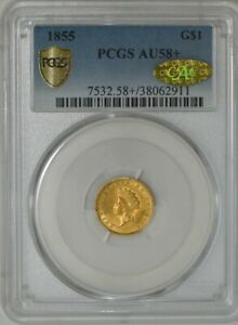 1855 $ GOLD INDIAN DOLLAR AU58  PCGS SECURE   GOLD CAC 941688 3