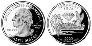 2003 S GEM BU PROOF ARKANSAS STATE QUARTER BRILLIANT UNCIRCULATED COIN PF