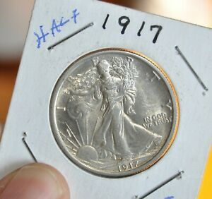 1917 WALKING LIBERTY SILVER HALF DOLLAR COIN GREAT DETAILS BRIGHT SILVER COIN