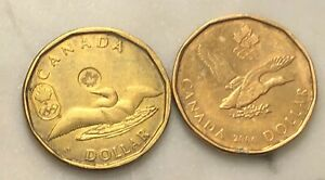 2 CANADA LUCKY LOONIES CIRCULATED OPEN WINGS DUCK OLYMPIC 2006 &2012 EXACT COINS
