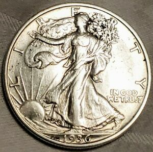 1936 D WALKING LIBERTY HALF DOLLAR  AU UNC DETAILS BOX SHIPPED FOR SAFETY