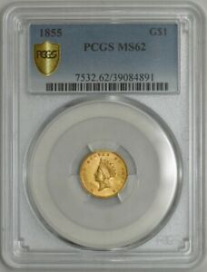 1855 $ GOLD INDIAN DOLLAR MS62 SECURE PLUS PCGS 942851 7