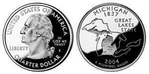 2004 S GEM BU PROOF MI MIICHIGAN STATE QUARTER BRILLIANT UNCIRCULATED COIN PF