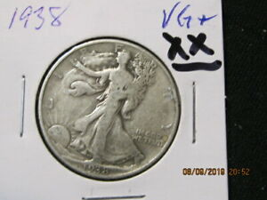 1938. 90   SILVER WALKING LIBERTY  U.S SHIPPING ONLY VG TO FINE