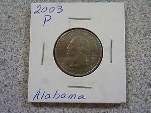 2003 P  UNCIRCULATED AU  ALABAMA STATE QUARTER US QUARTER DOLLARS
