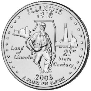2003 P  CIRCULATED  ILLINOIS STATE QUARTER US QUARTER DOLLARS