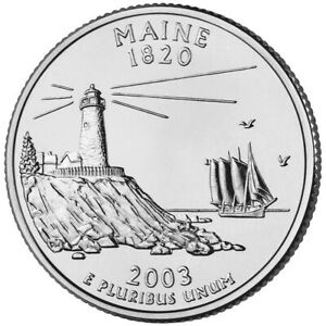 2003 P  CIRCULATED  MAINE STATE QUARTER US QUARTER DOLLARS