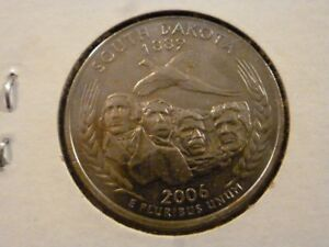 2006 D  UNCIRCULATED AU  SOUTH DAKOTA STATE QUARTER US QUARTER DOLLARS