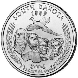 2006 P  CIRCULATED  SOUTH DAKOTA STATE QUARTER US QUARTER DOLLARS