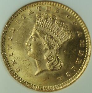 Click now to see the BUY IT NOW Price! 1873 GOLD ONE DOLLAR $1 TYPE III INDIAN PRINCESS NGC MS 63 OPEN 3