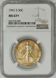 Click now to see the BUY IT NOW Price! 1941 S WALKING LIBERTY HALF 50C MS67  NGC 941737 4   BEAUTIFUL COLOR